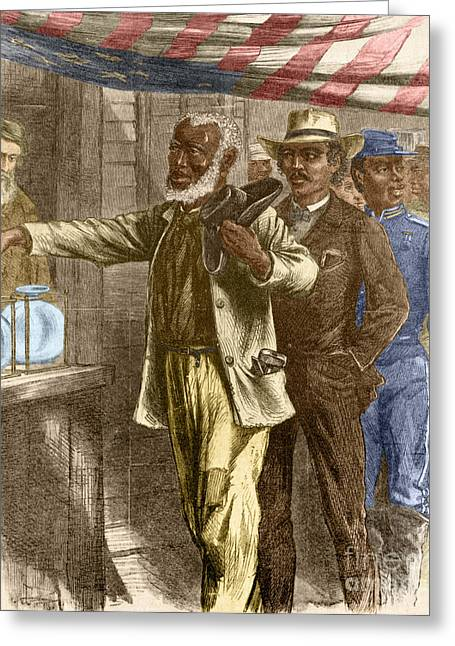 Voting Rights Greeting Cards - The First Vote 1867 Greeting Card by Photo Researchers