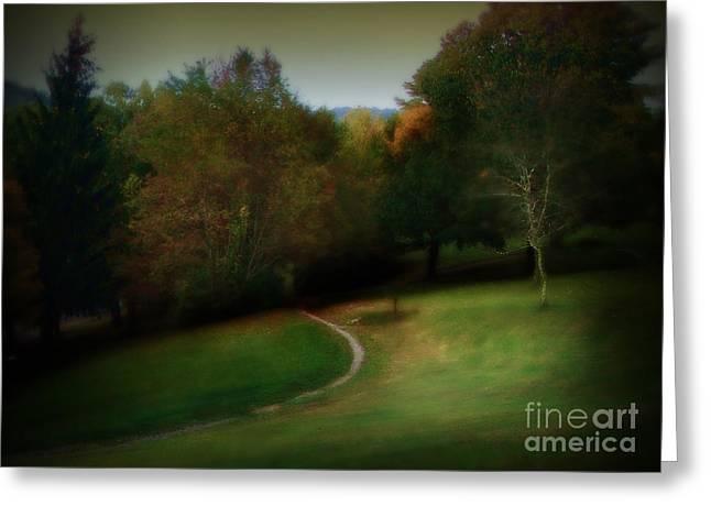 The First Walk of Fall Greeting Card by Lj Lambert