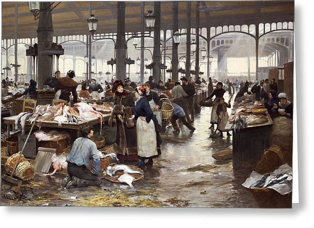 Fish Market Greeting Cards - The Fish Hall at the Central Market  Greeting Card by Victor Gabriel Gilbert