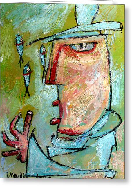 Juggling Greeting Cards - The Fish Jugglers Son Greeting Card by Charlie Spear