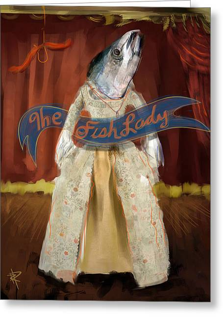 Freak Show Greeting Cards - The Fish Lady Greeting Card by Russell Pierce
