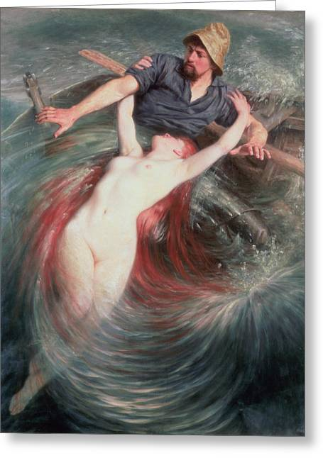 1843 Greeting Cards - The Fisherman and the Siren Greeting Card by Knut Ekvall