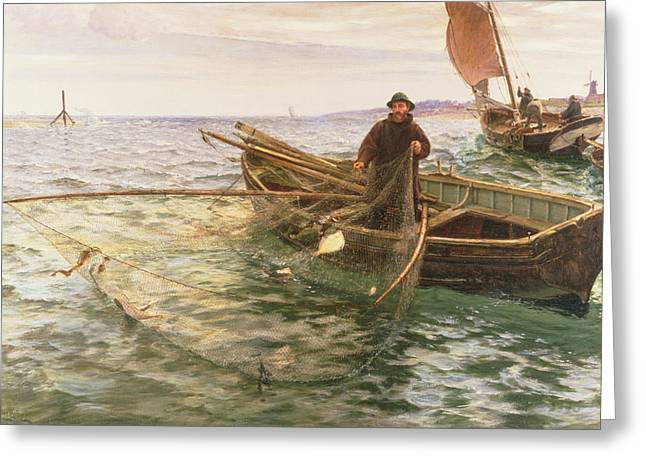 Docked Sailboats Greeting Cards - The Fisherman Greeting Card by Charles Napier Hemy
