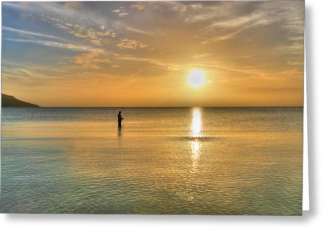 The fisherman Greeting Card by David Hibberd