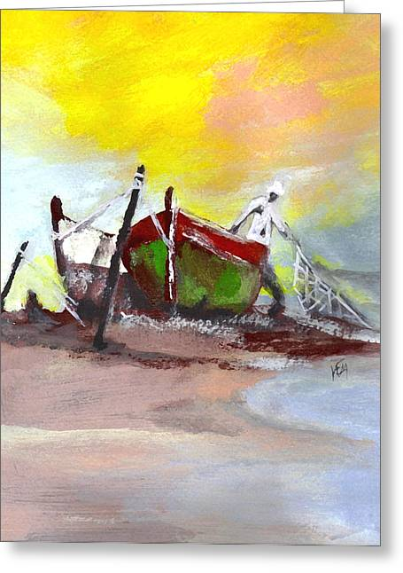 Netting Paintings Greeting Cards - The Fisherman of the Sea Greeting Card by Kemberly Duckett
