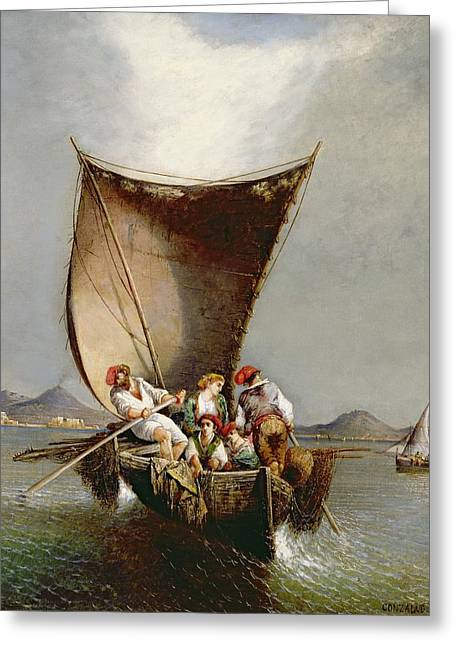 Rowers Paintings Greeting Cards - The Fishermans Family Greeting Card by Consalvo Carelli