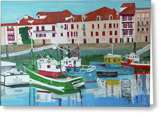 """south West France"" Greeting Cards - The Fishermans Harbour St Jean de Luz South West France Greeting Card by Bill White"