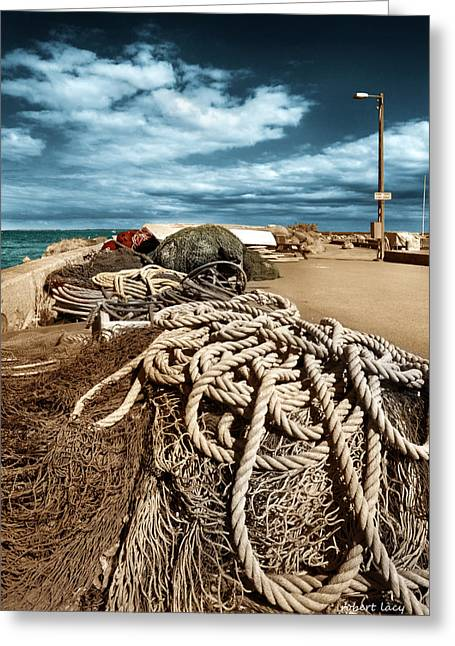 Fyn Greeting Cards - The Fishermans Wharf Greeting Card by Robert Lacy