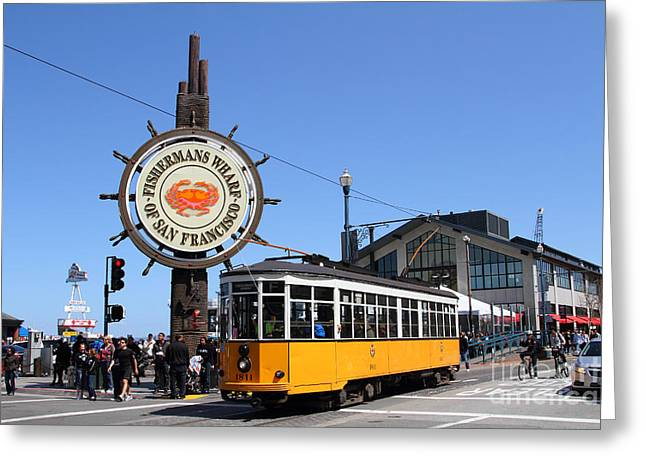 Fishermens Wharf Greeting Cards - The Fishermans Wharf Sign . San Francisco California . 7D14234 Greeting Card by Wingsdomain Art and Photography