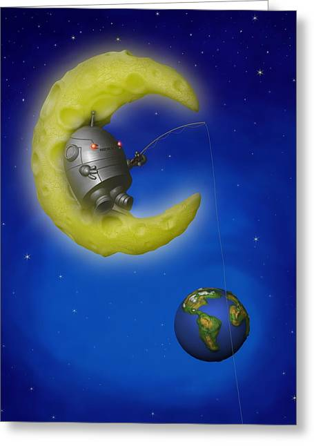 Childrens Story Book Greeting Cards - The Fishing Moon Greeting Card by Michael Knight