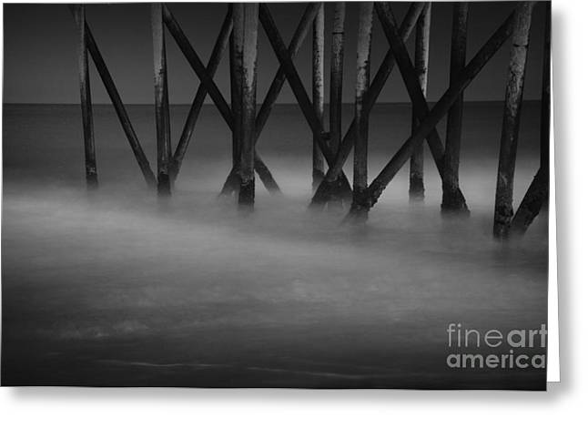 Beach At Night Greeting Cards - The Fishing Pier Greeting Card by Paul Ward