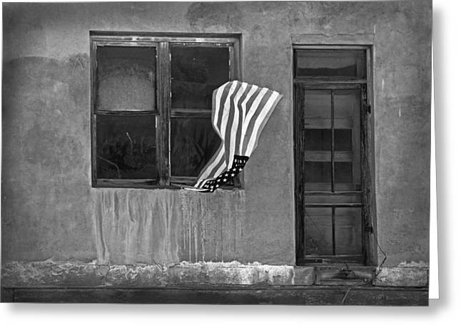 Screen Doors Greeting Cards - The Flag a Window and a Door Greeting Card by James Steele