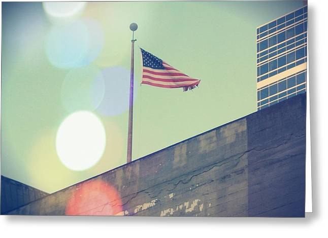 Downtown Portland Greeting Cards - The Flag Greeting Card by Cathie Tyler
