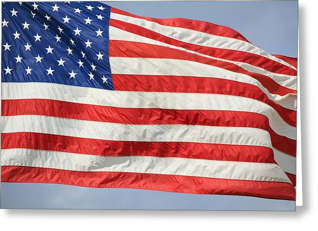 Stripes. Blowing Greeting Cards - The Flag Of The United States Of America Greeting Card by Craig Tuttle