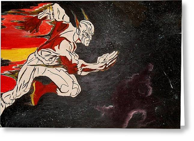 Outerspace Drawings Greeting Cards - The Flash  Greeting Card by Samuel Carter