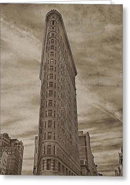 Flat Iron Building Greeting Cards - The Flat Iron Building Greeting Card by Kathy Jennings