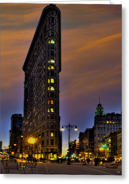 Flatiron Building Greeting Cards - The Flatiron Building at Dusk Greeting Card by Chris Lord