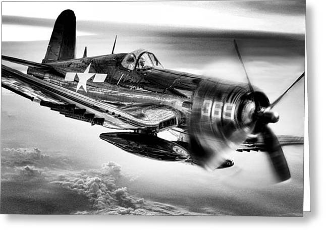 Ww Ii Greeting Cards - The Flight Home BW Greeting Card by JC Findley
