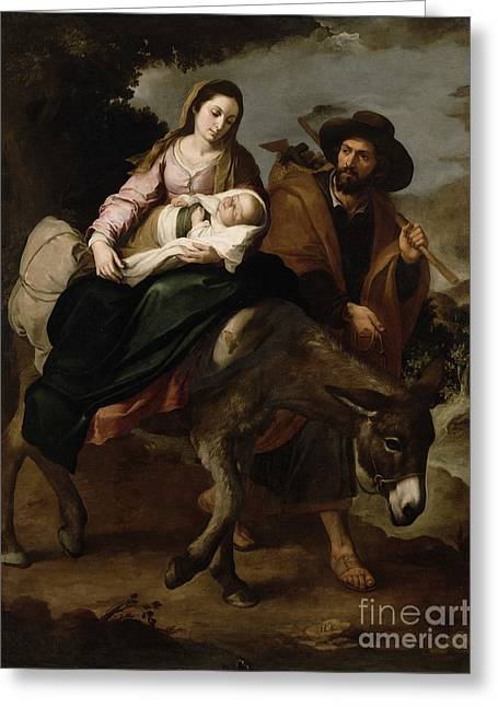 Child Jesus Greeting Cards - The Flight into Egypt Greeting Card by Bartolome Esteban Murillo