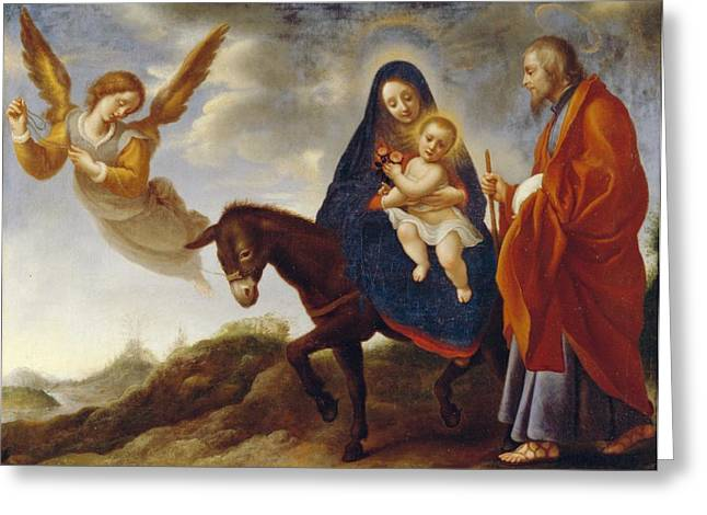Best Sellers -  - Christ Child Greeting Cards - The Flight into Egypt Greeting Card by Carlo Dolci