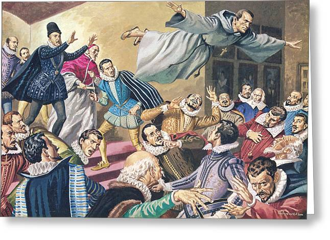 Levitation Greeting Cards - The Flight of Father Dominic Greeting Card by English School