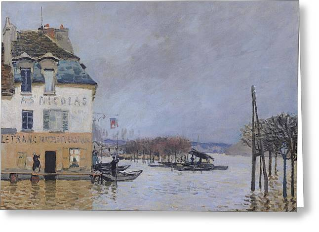 Overflow Greeting Cards - The Flood at Port Marly Greeting Card by Alfred Sisley