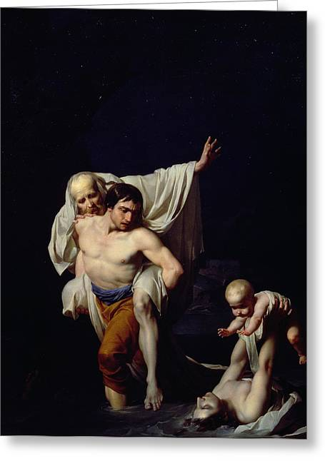 Carry Paintings Greeting Cards - The Flood Greeting Card by Jean-Baptiste Regnault