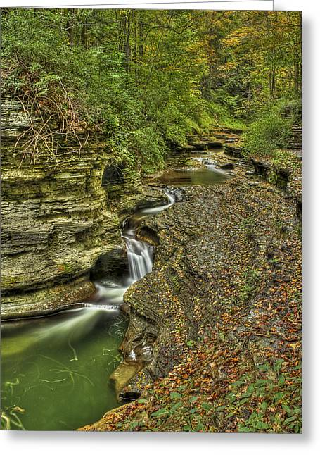 Buttermilk Falls Photographs Greeting Cards - The Flow Greeting Card by Evelina Kremsdorf