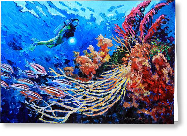 Scuba Divers Greeting Cards - The Flow of Creation Greeting Card by John Lautermilch