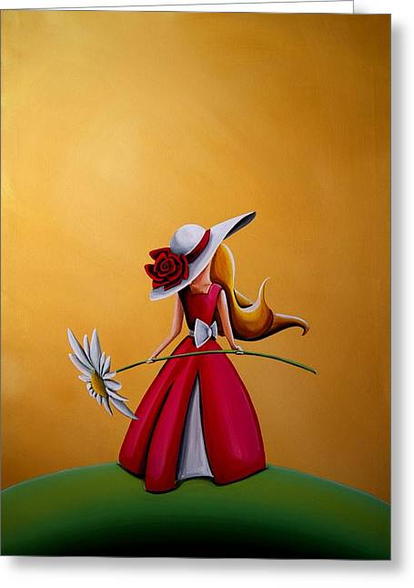Illustrative Paintings Greeting Cards - The Flower Girl Greeting Card by Cindy Thornton