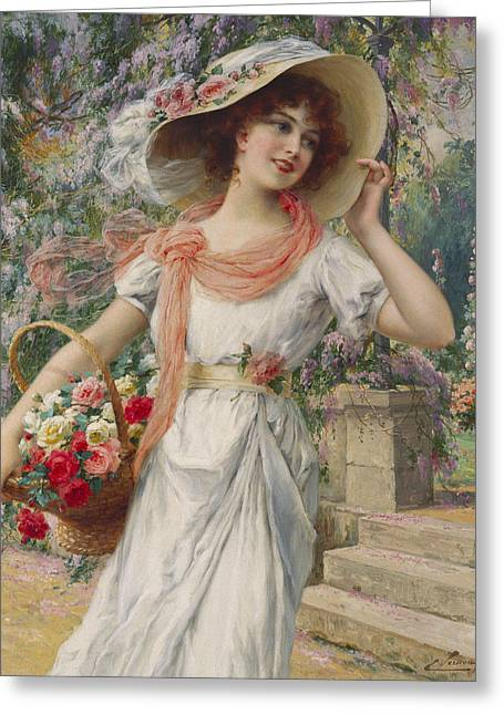 Garden Flower Greeting Cards - The Flower Girl Greeting Card by Emile Vernon