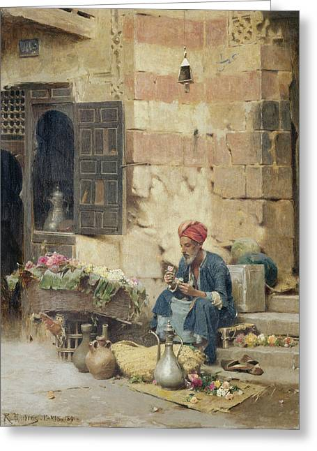 Cloth Greeting Cards - The Flower Seller Greeting Card by Raphael von Ambros
