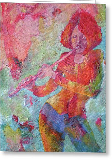 Flute Player Greeting Cards - The Flute Player Greeting Card by Susanne Clark