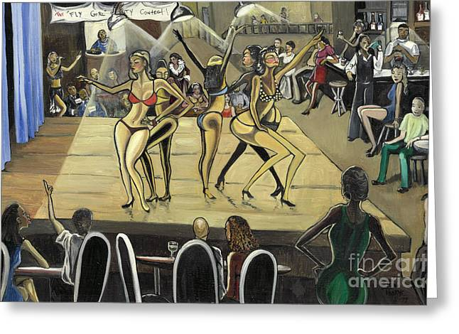 Club Scene Greeting Cards - The Fly Girl Beauty Contest Greeting Card by Toni  Thorne