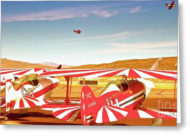Reno Air Races Greeting Cards - The Flying Circus Reno Air Races Greeting Card by Gus McCrea