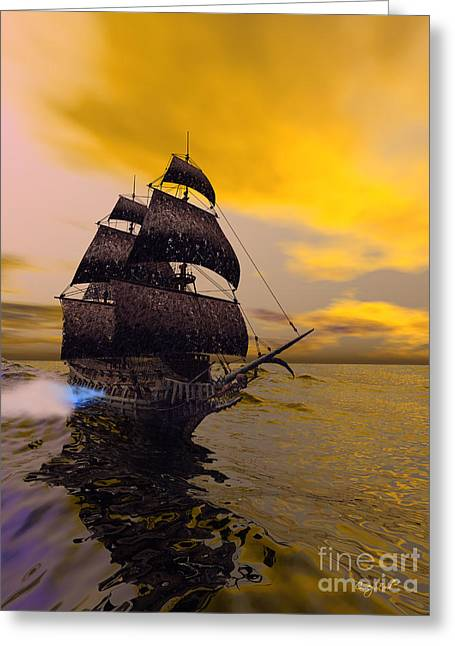 Masts Digital Art Greeting Cards - The Flying Dutchman Greeting Card by Corey Ford
