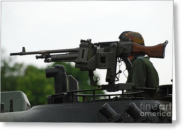 The Fn Mag Gun On The Turret Greeting Card by Luc De Jaeger