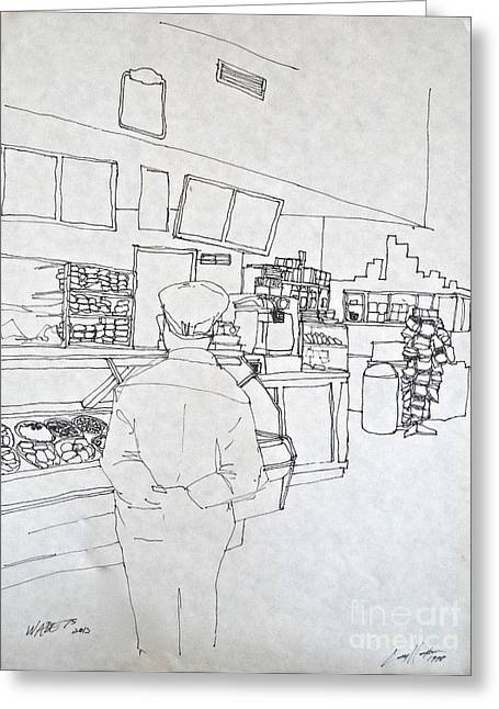 Midtown Drawings Greeting Cards - The Food Stop Greeting Card by Wade Hampton
