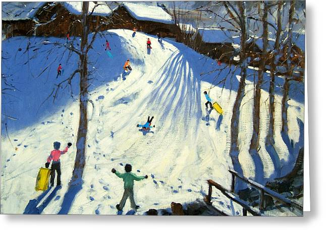 Toboggan Greeting Cards - The footbridge Greeting Card by Andrew Macara