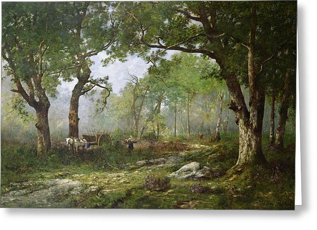 Cart Horse Greeting Cards - The Forest of Fontainebleau Greeting Card by Leon Richet