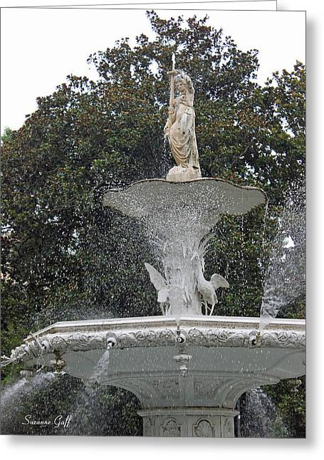 Savannah Parks Gardens Greeting Cards - The Forsyth Fountain Greeting Card by Suzanne Gaff