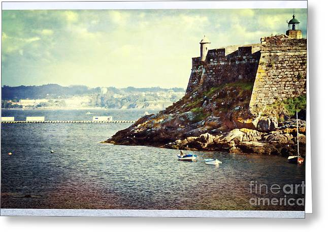 Sailboat Ocean Digital Art Greeting Cards - The Fort on the Harbor - La Coruna Greeting Card by Mary Machare