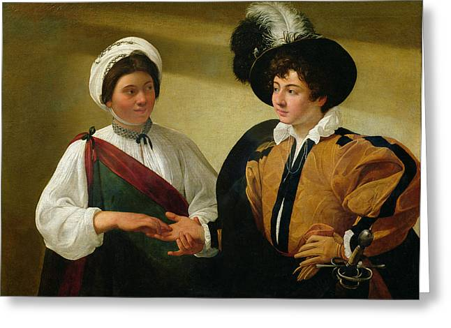 Michelangelo Greeting Cards - The Fortune Teller Greeting Card by Michelangelo Merisi da Caravaggio