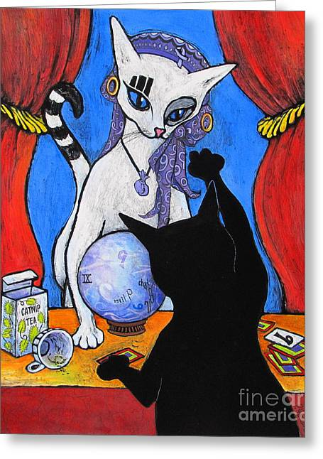 Black Ball Mixed Media Mixed Media Greeting Cards - The Fortune Teller Greeting Card by Pamela Iris Harden