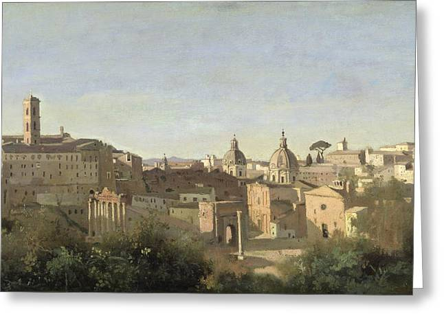 From The Dome Greeting Cards - The Forum seen from the Farnese Gardens Greeting Card by Jean Baptiste Camille Corot