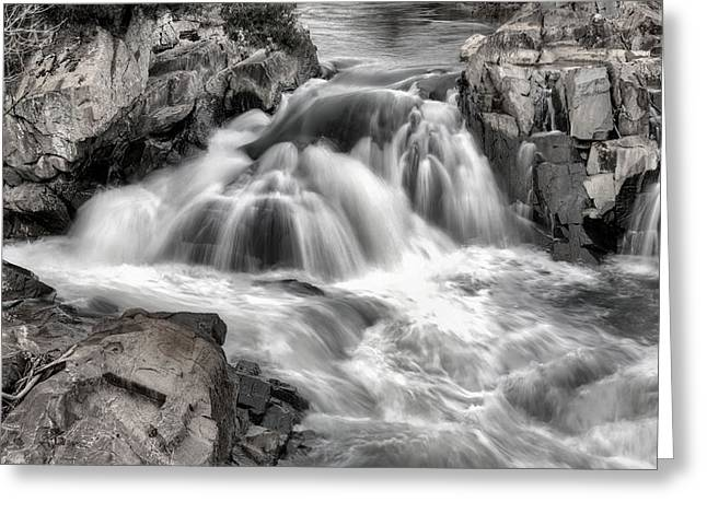 The Fountain Black And White Greeting Card by JC Findley
