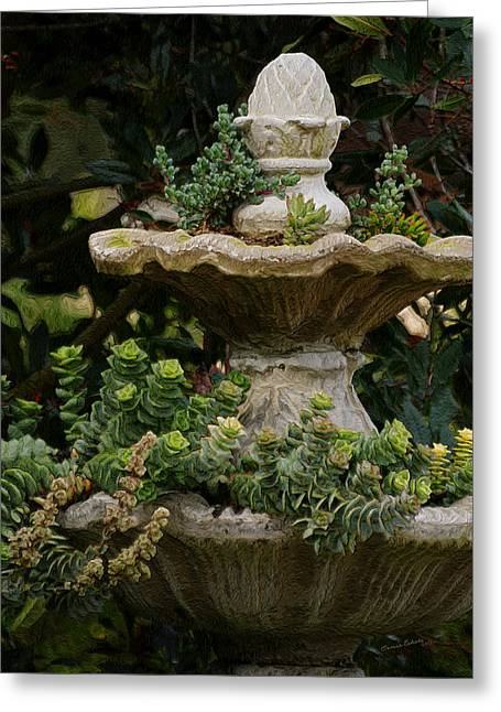 Nature Center Greeting Cards - The Fountain Painterly Greeting Card by Ernie Echols