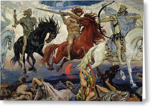 Archer Greeting Cards - The Four Horsemen of the Apocalypse Greeting Card by Victor Mikhailovich Vasnetsov