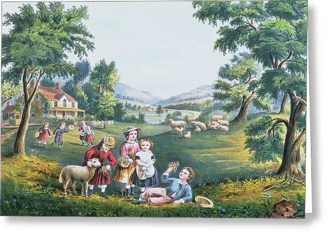 The American Dream Greeting Cards - The Four Seasons of Life Childhood Greeting Card by Currier and Ives