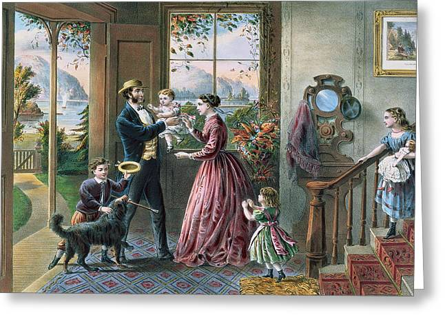 Family Pet Greeting Cards - The Four Seasons of Life  Middle Age Greeting Card by Currier and Ives